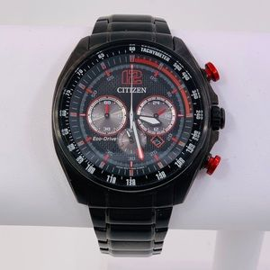 Mens Citizen Black Stainless Steel Eco Drive Watch